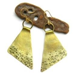 Brass Textured Triangle Earrings