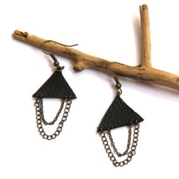 Black Leather and Chain Triangle Earrings