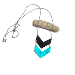 Black and Turquoise Leather Chevron Necklace