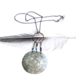 Etched Silver Mandala Necklace
