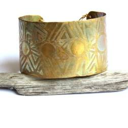 Etched Tribal Sun Brass Cuff with Patina