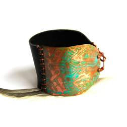 Tibal Etched Copper Patina and Black Leather Bracelet