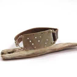 Tribal Etched Silver and Brown Leather Bracelet