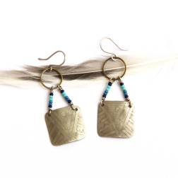 Bohemian Urban Eclectic Jewelry Handmade Costa Rica Mixed Metal Etched Beaded Tribal Earrings
