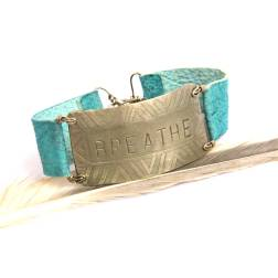 Tribal Etched Silver BREATHE on Turquoise Leather Bracelet