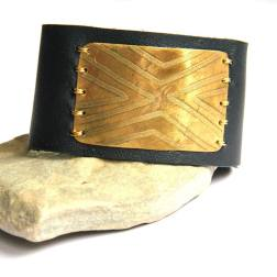 Etched Geometric Brass and Black Leather Bracelet