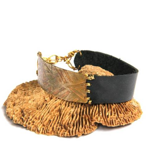 Etched Tribal Brass and Black Leather Bracelet