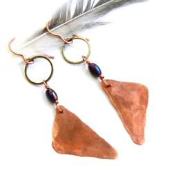 Urban Eclectic Jewelry Handmade Tamarindo Costa Rica Textured Copper Triangle and Hematite Earrings