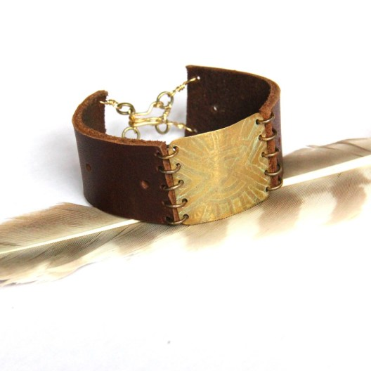Urban Eclectic Jewelry Handmade Tamarindo Costa Rica Etched Tribal Brass and Brown Leather Bracelet
