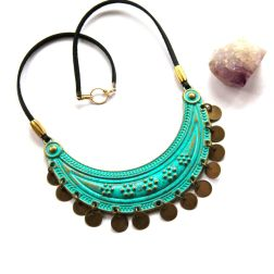 Ornate Brass Shield Necklace with Turquoise Patina