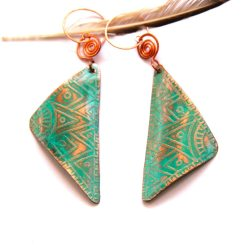 Etched Tribal Triangle Copper Earrings with Green Patina