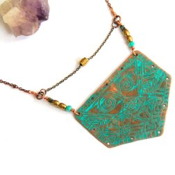 Etched Copper Tribal Shield Necklace