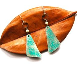 Urban Eclectic Jewelry Handmade Tamarindo Costa Rica Silver Tribal Etched Triangle Earrings with Turquoise Patina