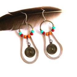 Urban Eclectic Jewelry Handmade Tamarindo Costa Rica Etched Silver Beaded Hoop Mixed Metal Earrings
