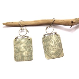 Tribal Silver Etched Earrings by Urban Eclectic Jewelry