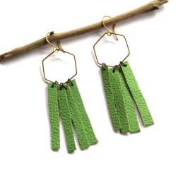 Urban Eclectic Jewelry Handmade Tamarindo Costa Rica Lime Green Leather Fringe Earrings