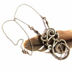 Urban Eclectic Jewelry Handmade Tamarindo Costa Rica Wire Wrapped Spiral Pendant Necklace