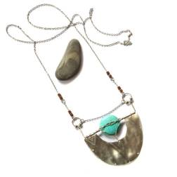 Silver Textured Crescent and Turquoise Necklace