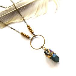Wire Wrapped Titanium Quartz Necklace