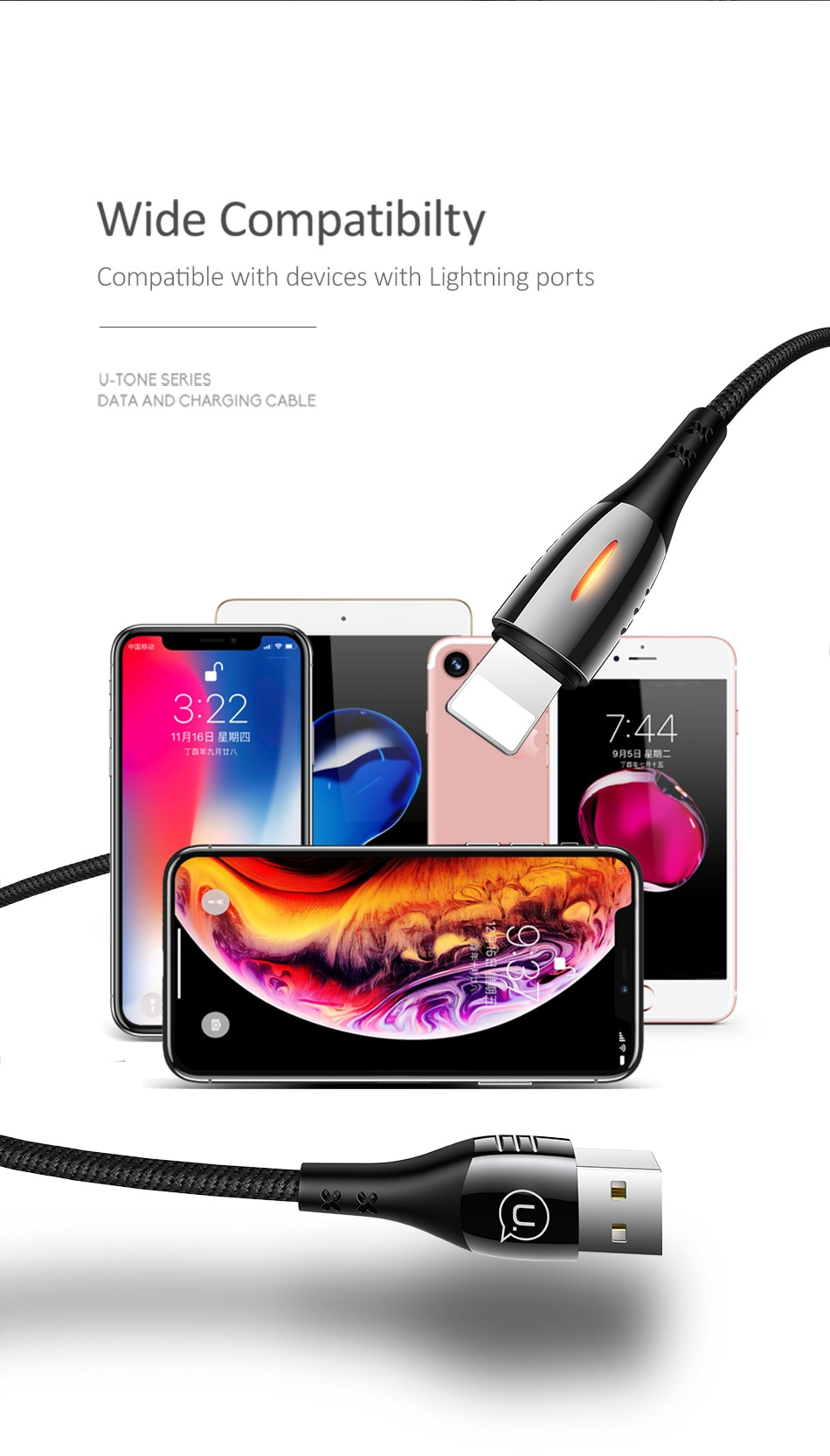 USAMS Smart Auto Disconnect Cable for iPhone Fast Charging Power Off USB Charging protection Cable for iPad iPhone X XS 8 7 6 6S