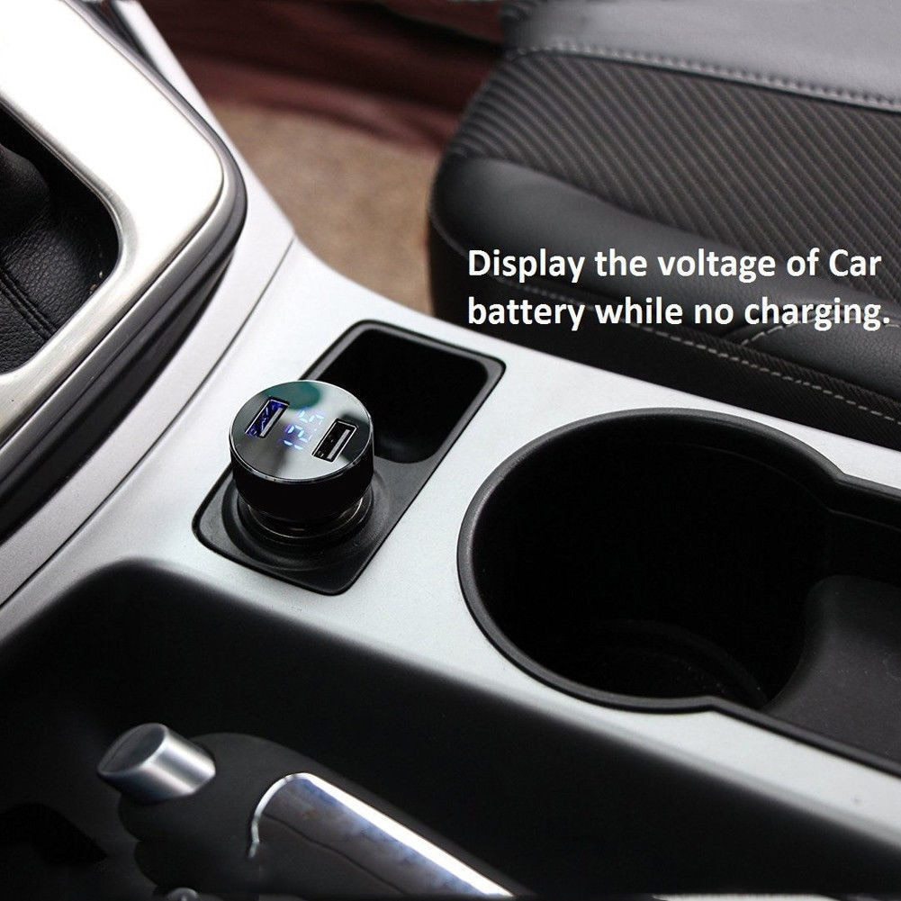 Car Accessories 3.1A Dual USB Car Charger 2 Port LCD Display 12-24V Cigarette Lighter Socket For Smart Phone