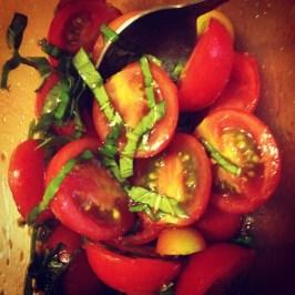 Tomato and cucumber salad.