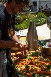 Nico Fini prepares the selection of veges | Urban Escargot Wedding Catering