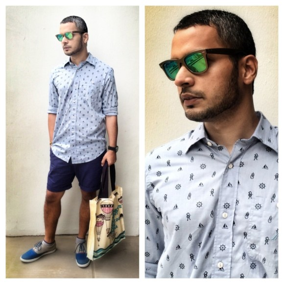 I recently sported my Nautica nautical micro print shirt to the Singapore Grand Prix, paired with classic navy shorts.