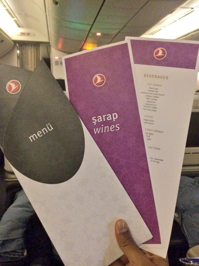 After a smooth take off, the menu, wine list and beverage list were distributed.