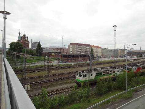 The railway cuts the eastern side of Tampere's inner city into two. This photo is just south of the railway station.