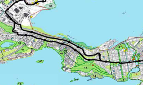 The two route options on the isthmus. The northern one is the highway route and the southern one the Pispala route. Map source: The City of Tampere.