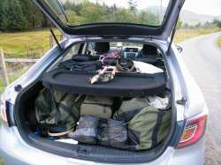 back of the car packed