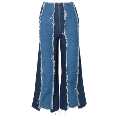 Rejina Pyo - Bella cropped distressed high-rise wide-leg jeans
