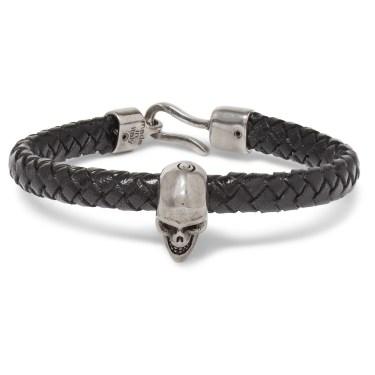 Alexander McQueen - Leather & Silver Skull Bracelet