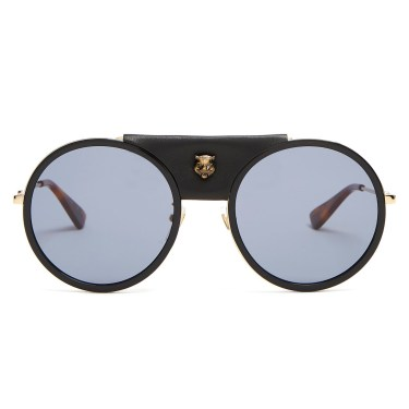 Gucci - Round Leather-trimmed Metal Sunglasses