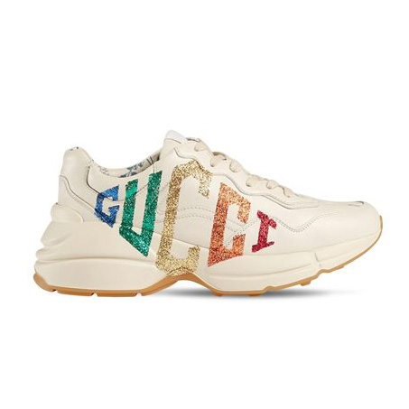 Gucci - Rhyton Glitter & Leather Sneakers