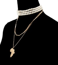 Celebrity Inspired Pearl Choker and Gold Africa Necklace ...