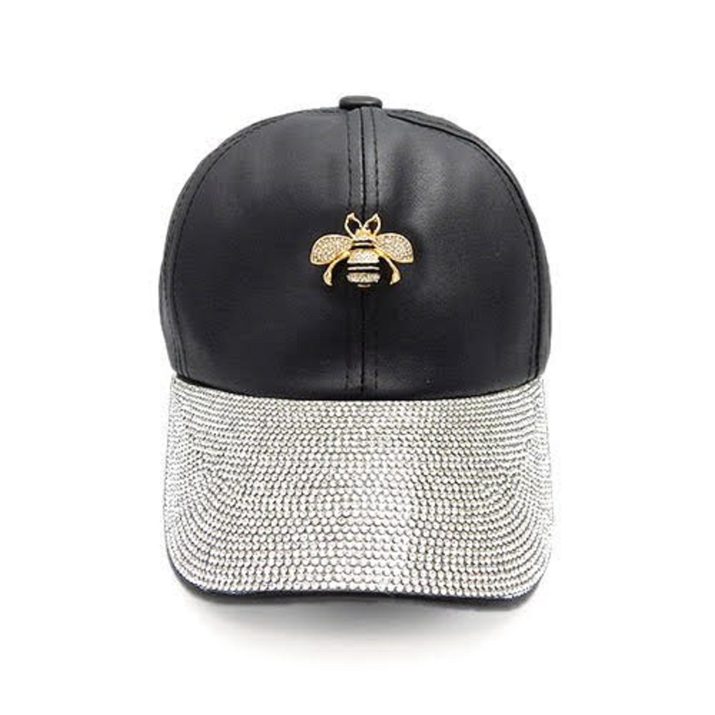 87712beee8cc4 Gucci Inspired Rhinestone Black Cap with Honey Bee Accent