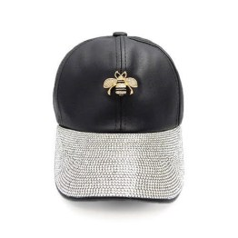 Gucci Inspired Rhinestone Black Cap with Honey Bee Accent 77ec57eb69d4
