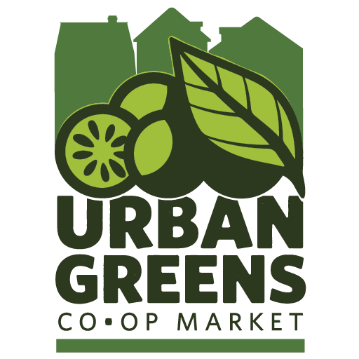 """Urban Greens logo in three shades of green, three buildings in the background, fruit and vegetables in the foreground, and text on the bottom that reads, """"Urban Greens Co-op Market""""."""
