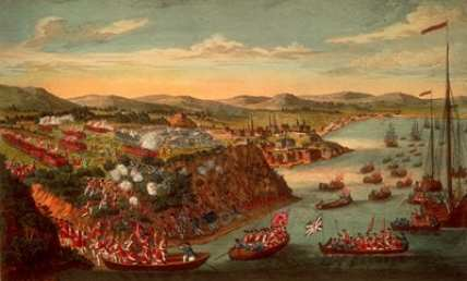 History of Quebec City: Illustration of the Battle of the Plains of Abraham