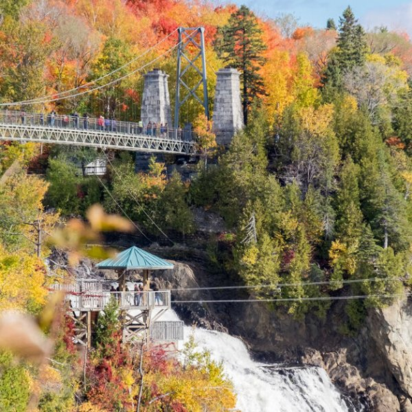 Wander around Montmorency Falls in Quebec City