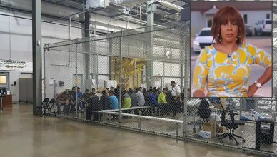 Gayle King and Border Patrol Holding Cage (Credit: CBS News/U.S. Customs and Border Protection's Rio Grande Valley Sector)