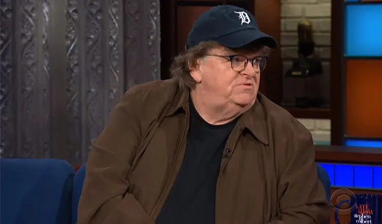 Michael Moore on The Late Show With Stephen Colbert (Credit: CBS)