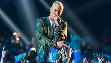 Eminem performs at the 2014 MTV Movie Awards at Nokia Theatre L.A. Live on April 13, 2014 in Los Angeles. (Credit: YouTube)