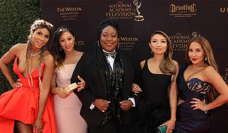 Tamar Braxton, Tamera Mowry-Housley, Loni Love, Jeannie Mai, Adrienne Bailon at the 43rd Daytime Emmy Awards at the Westin Bonaventure Hotel on May 1, 2016 in Los Angeles, CA. (Credit: Shutterstock)