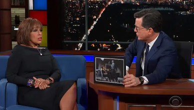 Gayle King appeared on The Late Show with Stephen Colbert on Thursday, March 7, 2019. (Credit: CBS)