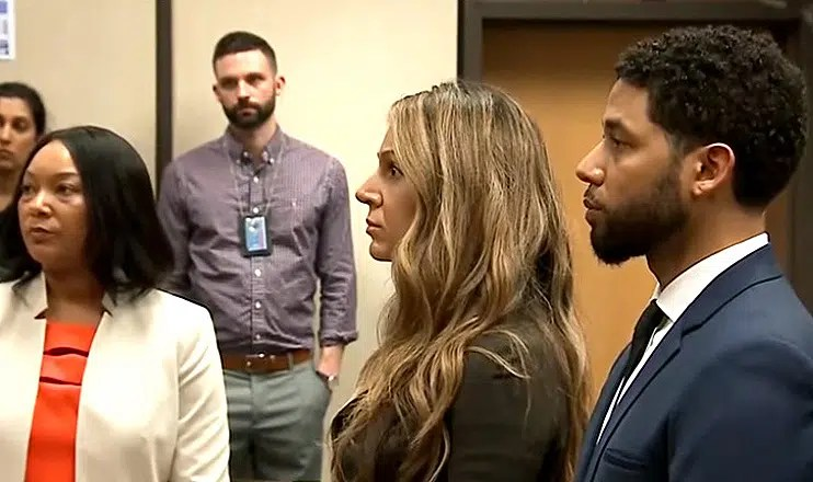 Jussie Smollett was arraigned in Chicago on Thursday, March 14, 2019. (Credit: YouTube/CBS News)
