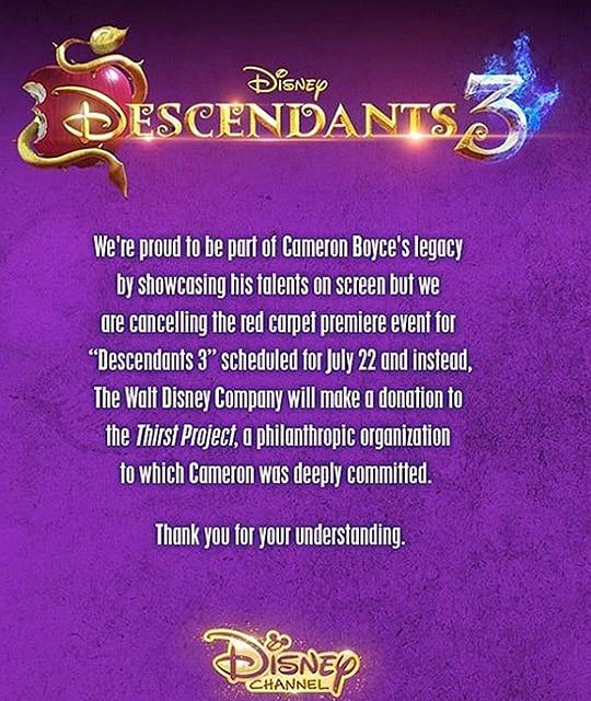 "Disney ""Descendants 3"" Statement"