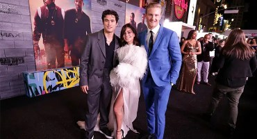 """(L-R) Charles Melton, Vanessa Hudgens and Alexander Ludwig attend the Los Angeles premiere of """"Bad Boys for Life"""" on Jan. 14, 2020. (Credit:Eric Charbonneau)"""